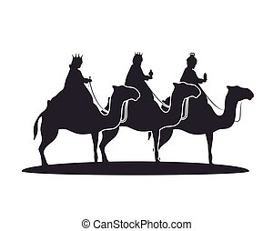 silhouette three wise kings manger design isolated vector...