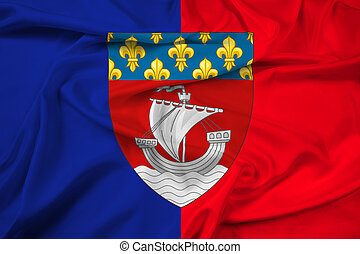 Waving Flag of Paris with Coat of Arms (Escutcheon only),...