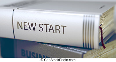 New Start Book Title on the Spine 3D Illustration - Close-up...