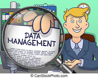 Data Management through Magnifying Glass Doodle Style -...