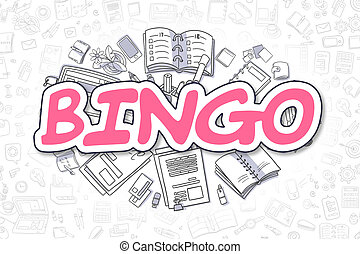 Bingo - Doodle Magenta Inscription. Business Concept. -...