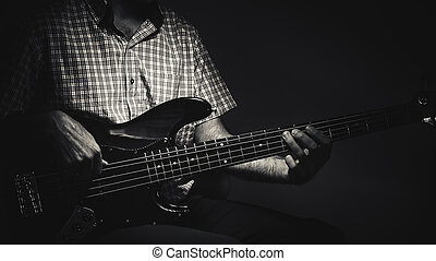 Expressions of a Bass Player - Bass player and his guitar,...
