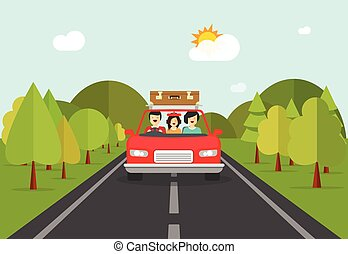 Happy family trip by car, people characters in auto...
