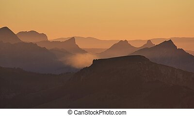 Sunset in the Bernese Oberland - View from Mt Niesen,...