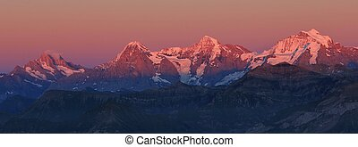 Eiger, Monch and Jungfrau at sunset - Famous mountains...