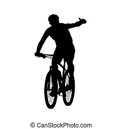 Mountain biker showing thumbs up Cycling, vector silhouette,...
