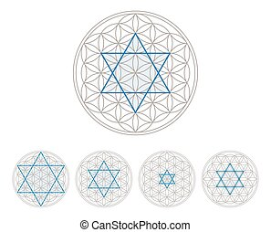 Blue hexagram in Flower of Life, a geometrical figure,...