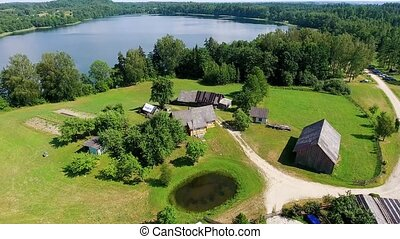 beautiful lake aerial view - aerial view of beautiful lake...