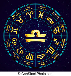 Gold sign of Zodiac  Libra in circle. Vector illustration