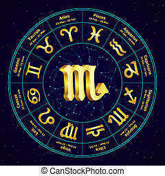 Gold sign of Zodiac  Scorpio in circle. Vector illustration