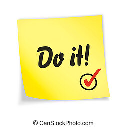 "Yellow sticky note ""do it\"", 3d illustration"