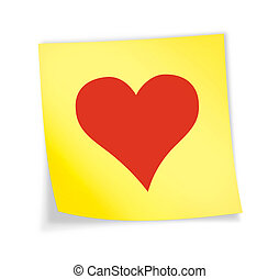 "Yellow sticky note ""heart\"""