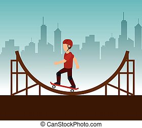 extreme sports skateboard design isolated vector...