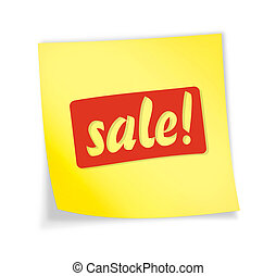 "Yellow sticky note ""sale\"""
