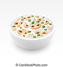 Bowl of Cream Sauce with Onion and Champignons