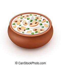 Ceramic Pot of Cream Sauce with Onion, Champignons - Ceramic...
