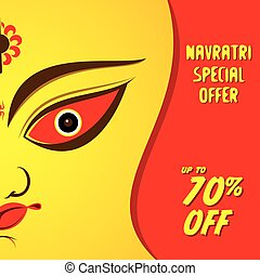 navratri special offer banner design using maa durga face...
