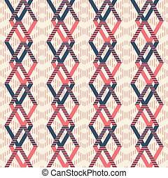 Seamless pattern of rhomboid shapes with striped lines -...