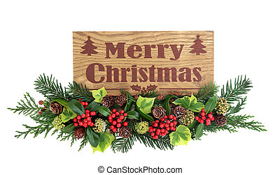 Merry Christmas Sign and Flora Decoration - Merry christmas...