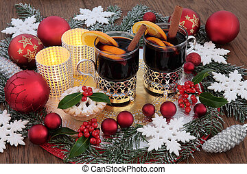 Christmas Party Time - Christmas party food and drink with...