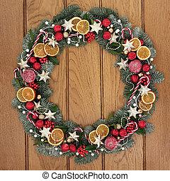 Christmas Wreath Welcome Symbol - Christmas wreath with...