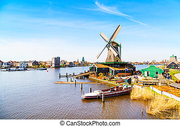 Windmills panorama in Zaanse Schans, traditional village,...