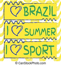 Ipanema beach pattern and hart shape Vector set of banners...