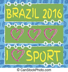Ipanema beach pattern and hart shape. Vector set of banners....