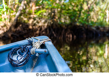Small blue boat in the mangrove in Indonesia