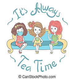 The tea party. Three cute girls sitting on sofa and drinking...