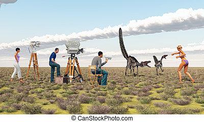 Película, tripulación, y, el, Dinosaurio,...