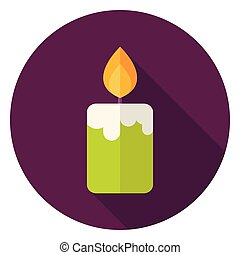 Candle Fire Circle Icon Flat Design Vector Illustration with...