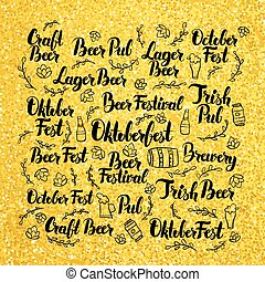 October Beer Fest Gold Lettering Design Vector Illustration...