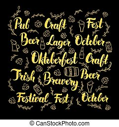 Oktoberfest Gold Lettering Design Vector Illustration of...
