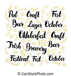 Oktoberfest Lettering Design Set Vector Illustration of...