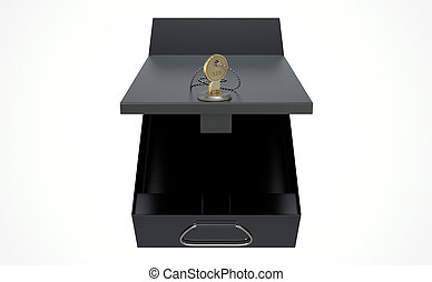 Black Safe Deposit Box - A 3D render of an opened black bank...