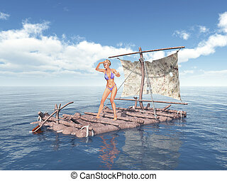 Woman on a raft - Computer generated 3D illustration with a...
