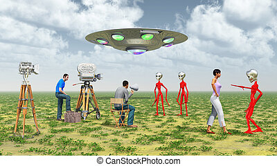 Movie crew, flying saucer and aliens - Computer generated 3D...