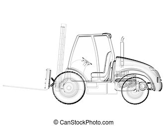 isolated transparent forklift truck