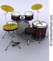 drums - 3d render of a concert drum kit