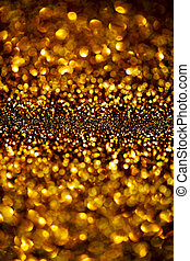 Dark Gold Festive blur background. Abstract night twinkled...