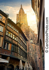 Cathedral in Strasbourg - View from street on a big gothic...