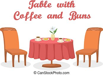 Table with Coffee and Buns Isolated