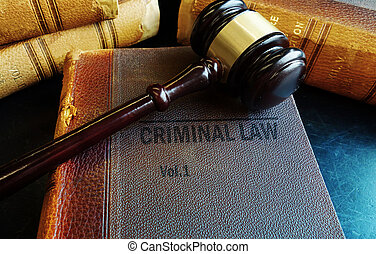Gavel on old Criminal Law books