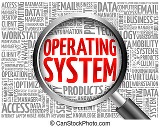 Operating System word cloud with magnifying glass, business...