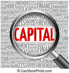 CAPITAL word cloud with magnifying glass, business concept