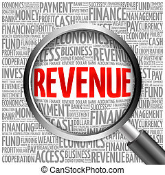 REVENUE word cloud with magnifying glass, business concept...