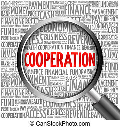 COOPERATION word cloud with magnifying glass, business...