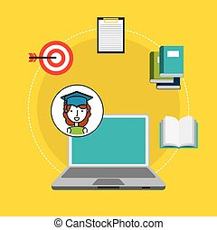 distance education flat icons vector illustration design