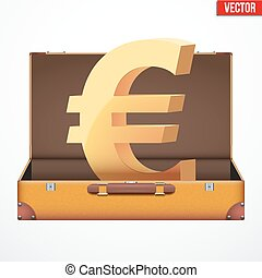 Suitcase money vector illustration - Concept of open...